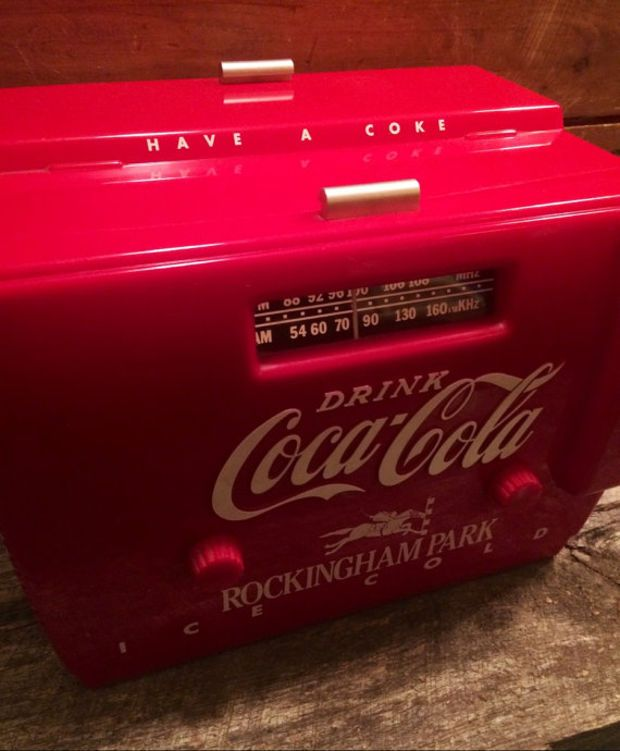 old-tyme COCA-COLA cooler radio otr-1949 / by XVIPaws on Etsy