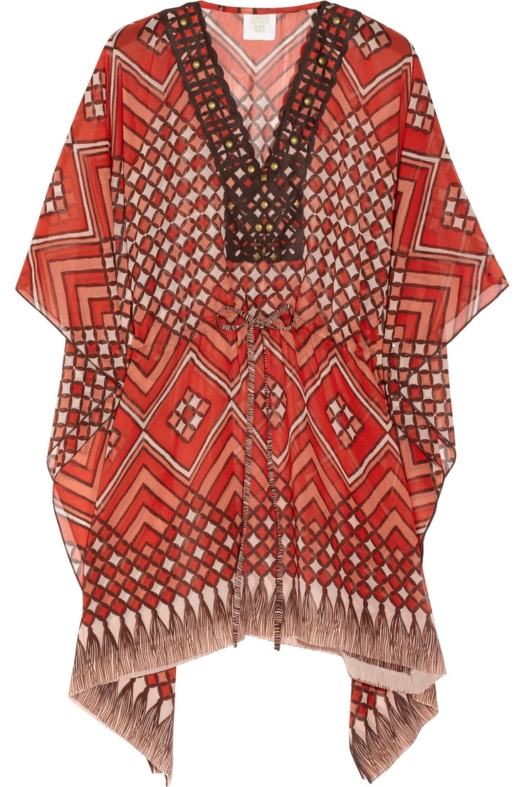 Style mavens adore Anna Sui's laid-back bohemian aesthetic and this printed silk-chiffon kaftan is an effortless way to work the look