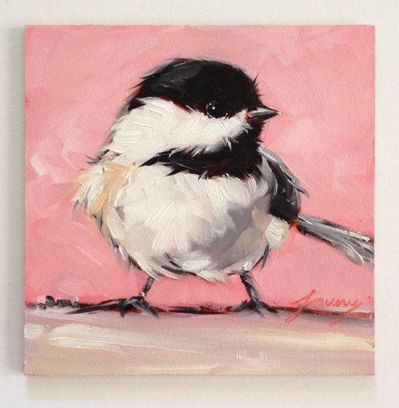 Love it when the birds are so fluffy.... Chickadee Bird Painting 5x5 Original Oil painting by LaveryART, $45.00