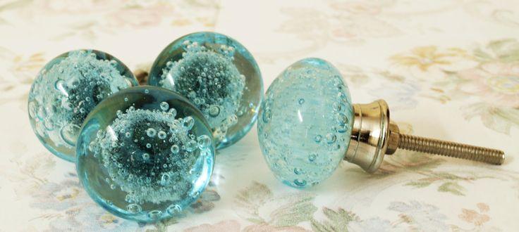 Aqua Bubble Glass Knobs