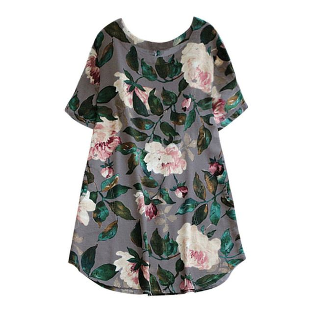 Summer women dress lady floral print  a-line dress summer o-neck short-sleeve  casual beach dress plus size 1