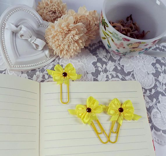 Yellow planner clips office desk clips yellow page markers