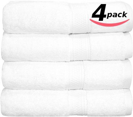 "Premium Hotel & Spa Bath-Towels White - 4 Pack 100% Cotton Bath Towels, 27"" X 54"" Easy Care, 700 GSM Ringspun Cotton for Maximum Softness and Absorbency by Utopia Towels"