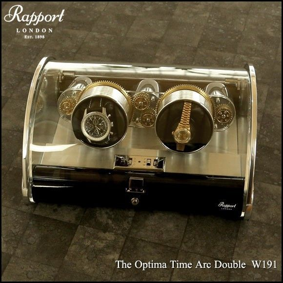 Rapport - The Optima Time Arc Double W191  The Optima Time Double W190  The cog mechanism powering the winding heads is contained in a lead crystal glass case with a semi-circular shaped, hinged lid.   The edges are trimmed with chrome plated steel and the base is a combination of piano finish ebony and polished steel.    W191 – Optima Time Arc two watch winder    Size: 150 high, 340 wide x 290mm deep  Weight: 6.0kg    US$2,900    *FREE WorldWide EMS shipping trackable and insured.*