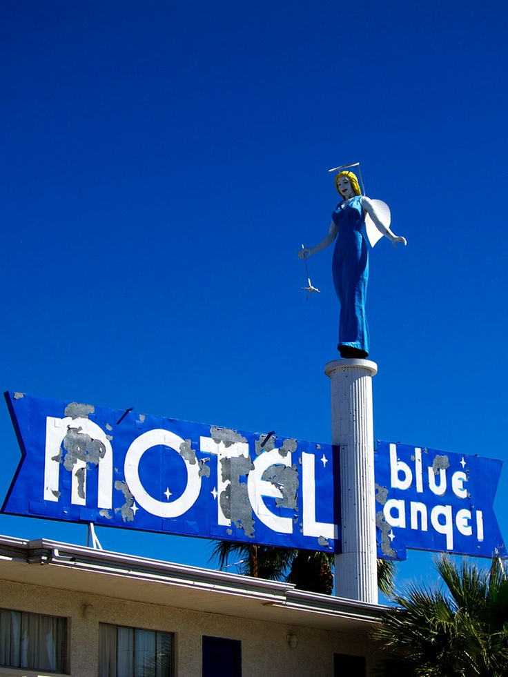 the old and iconic blue angel motel sign in downtown las. Black Bedroom Furniture Sets. Home Design Ideas