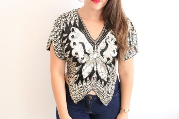 Sequin Silver Butterfly Top Blouse  by ClementinesBoutique on Etsy, $30.00