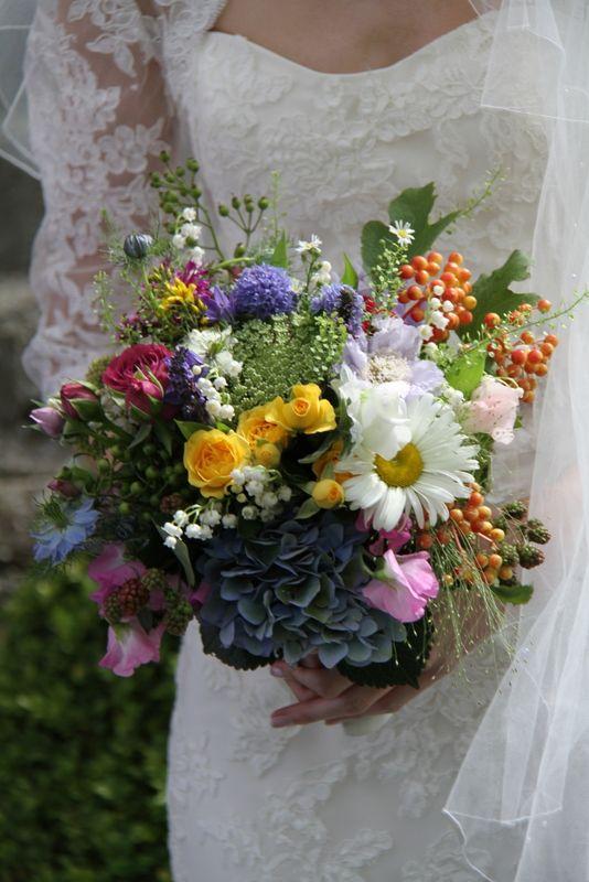 wild summer flower wedding bouquet