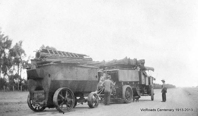 800 Gallon steam sprayer No. 3 at Terang 1931. VicRoads Centenary 1913-2013.
