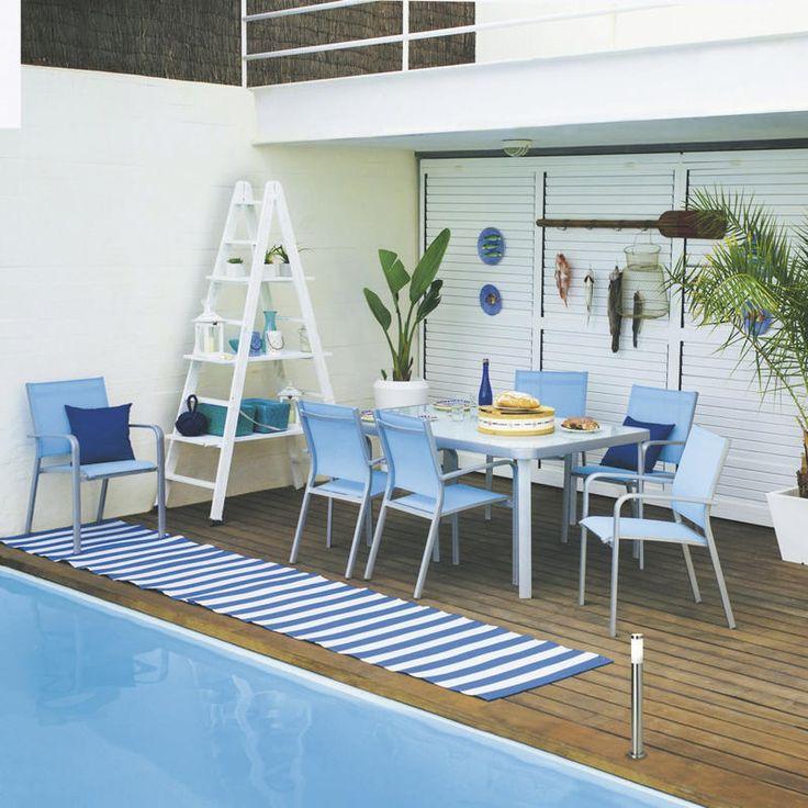 #Estilo #navy para decorar el entorno de la #piscina
