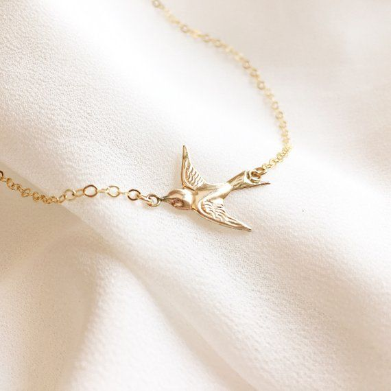 14kt Yellow Gold filled Swallow flying bird 14k yellow gold fill Necklace Chain Choker 14 15 16 18 Swallow Swift Sparrow UK Jewelry