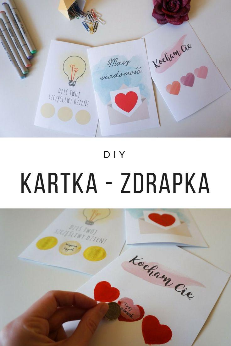 Walentynki DIY Miłosna kartka zdrapka 3 wzory do druku // Valentines Scratch-off Cards
