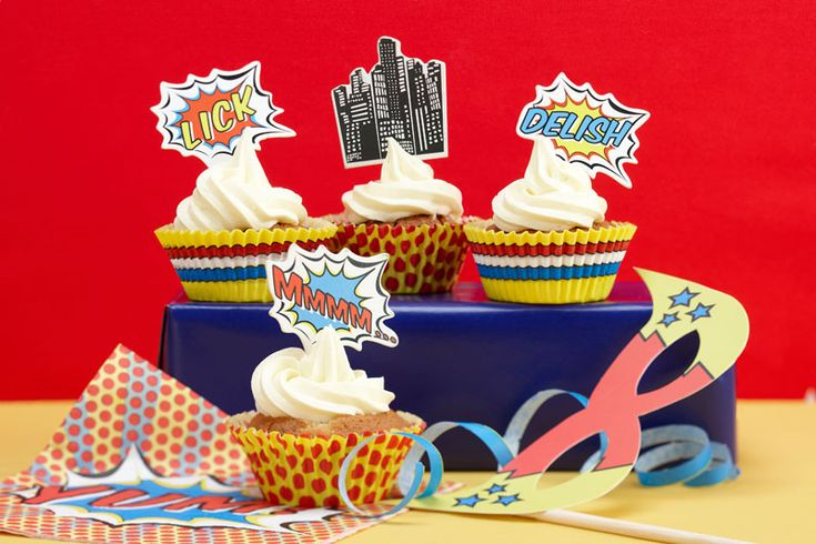 : CUPCAKE CASES & TOPPERS | POP ART PARTY #hatchandblossom