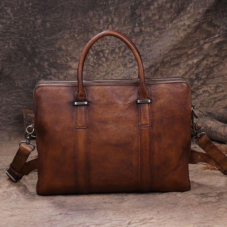 Handmade Vintage Leather Briefcase Men Business Bag Handbag Fashion Laptop Bag 14119