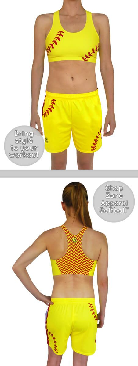 Women's Softball Laces Athletic Shorts and Sports Bra are designed for athletes who love style. Softball girls can wear this sports bra with a loose fitting tank to show off the fashion forward design. Bring style to your workout! Shop Zone Apparel Softball Clothing for Women.