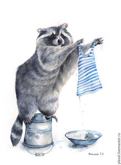 """Watercolor painting """"Raccoon"""" / Животные ручной работы. Ярмарка Мастеров - ручная работа. Купить Картина акварелью Енот полоскун и тельняшка. Handmade. Енот"""