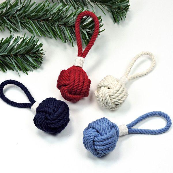 Nautical Christmas Ornament  Monkey Fist Ball Christmas Ornament Nautical Colors #knots #nautical #Christmas #nauticalChristmas