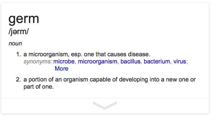 Definition of germ.  http://colinpurrington.com/2013/evidence-based-antibiotic-usage/