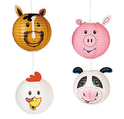 Farm Party Hanging Lanterns (4 pcs. per set)  These hanging paper lanterns are perfect party decorations for a farm animal or barnyard themed birthday party!  Old MacDonald's farm comes to life once you suspend these adorable animal from your ceiling fan or doorway, or hang them from tree branches outside!  Includes a cow, pig, horse and chicken for perfect farm animal festivities!  (4 pcs. per set)  30.5 cm Includes metal hangers. Assort. designs. paper