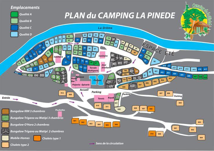 Plattegrond van Camping la Pinède in de Drôme in Die