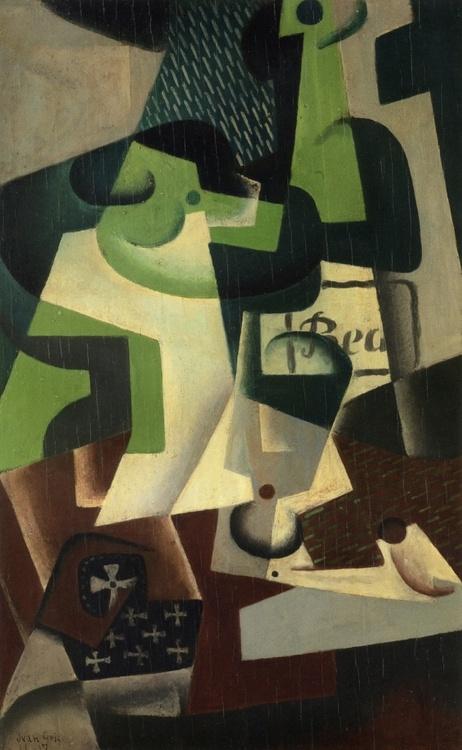 Juan Gris: Bottle of Beaune and a Fruit Dish, 1917.