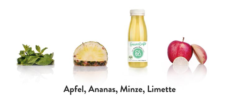 FreundSaft Ananas / Minze -  € 3.95 Coming Soon!  Visit us at  www.FreundSaft.com.  FreundSaft is based in Freiburg. #BIO #coldpressed #kaltgepresst #raw #vegan