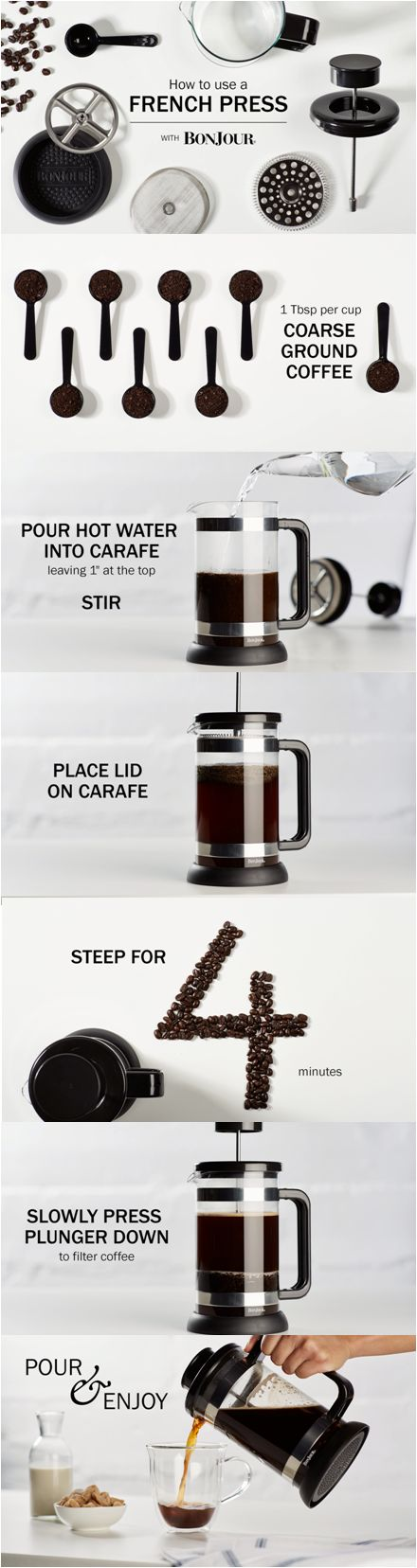 How to Use a French Press Coffee Brewer. Step-by-step instructions. Click on the image for a video tutorial.