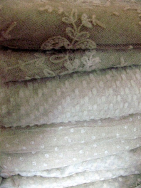 I love those vintage fabrics....dotted swiss, voile, batiste, dimity, gingham.....