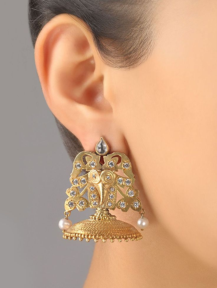 Zircon Leafy Jhumki earrings