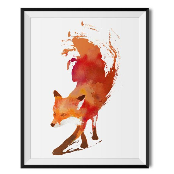 Fox Print Red Fox Watercolour print with Frame Fox by Wraptious