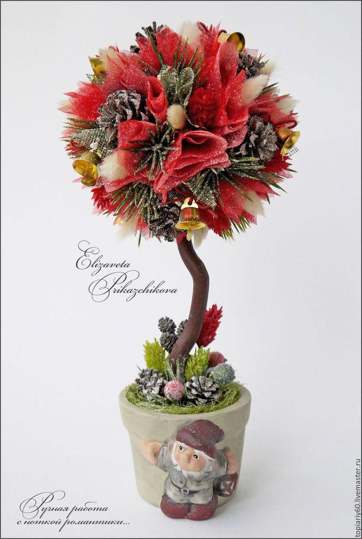 """Купить Новогодний мини-топиарий, деревце счастья """"Волшебные моменты"""". - ярко-красный, топиарий"""