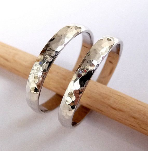 Wedding bands set white gold women's men's Wedding rings set 3mm wide by 1.2mm thick hammered shiny