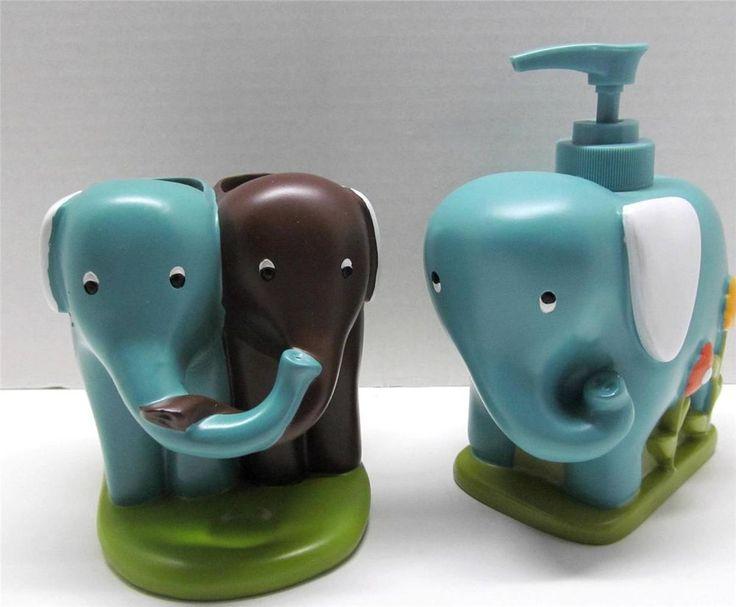 Amazing Kids Novelty Bath Set ELEPHANT Soap Lotion Dispenser Toothbrush Paste  Holder SaturdayKnightLtd Novelty. Elephant Bathroom