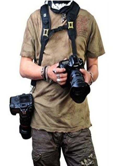 Black Dual Shoulder Camera Neck Strap Quick Release for 2 Digital SLR Cameras - CAST45