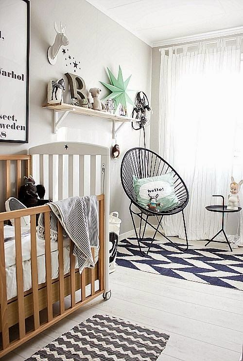 the boo and the boy: gender neutral nurseries - Mint green and black