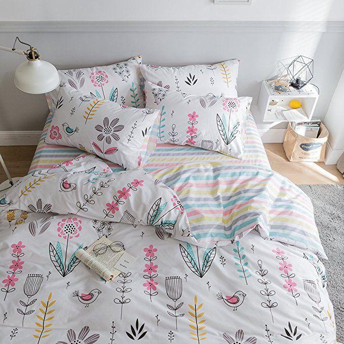 Amazon Com Highbuy Floral Print Kids Girls Bedding Duvet Cover Set Twin Cotton Striped Reversible Stripe Pattern Nav Kids Duvet Cover Bedding Sets Girls Duvet