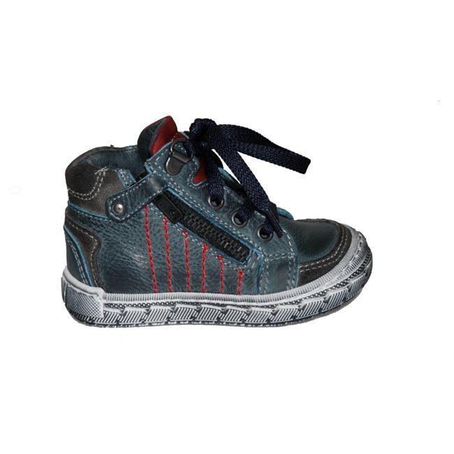 #children #shoes Μποτάκι Mούγερ για τα πρώτα βήματα, δερμάτινο, μπλε με κορδόνια, φερμουάρ στο πλάι και ανατομικό πέλμα. www.mouyer.gr/paidika-papoutsia/agoria/mouger-3-botaki-prota-vimata-dermatino-ble_53578/