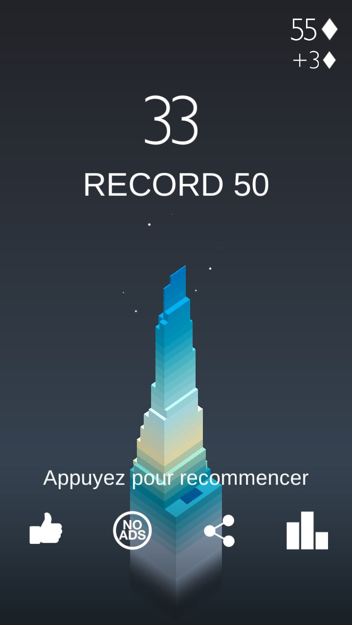 stack mobilephone game score screen