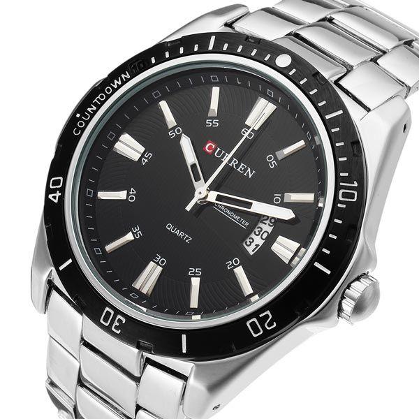 CURREN 8110 Silver Black Date Sport Stainless Steel Men Wrist Watch