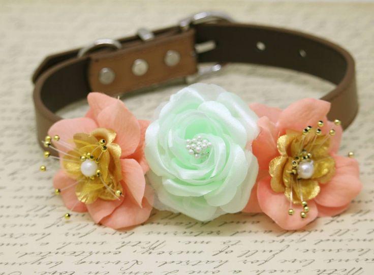 Floral Mint Peach Gold Wedding Dog Collar, Peach Mint Gold wedding, Beach Wedding Ideas