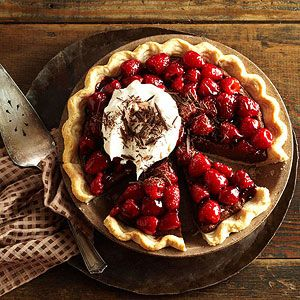 Double-Chocolate Mascarpone Raspberry Pie From Better Homes and Gardens, ideas and improvement projects for your home and garden plus recipes and entertaining ideas.