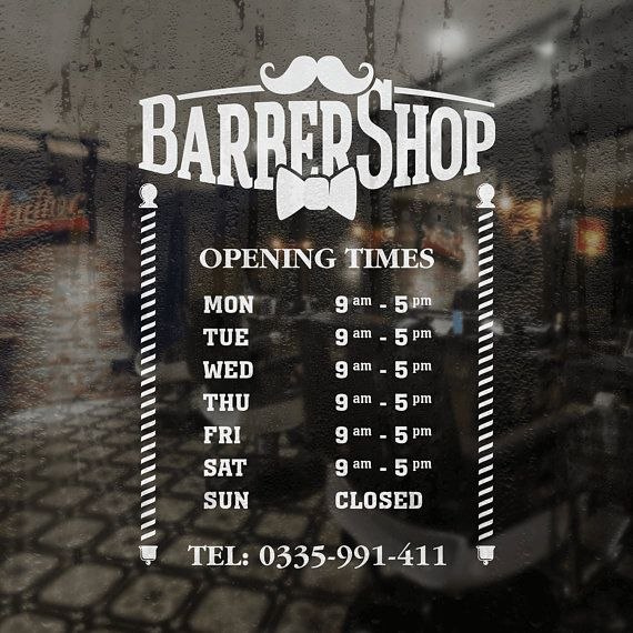 barber shop opening hours vinyl decal sticker personalized