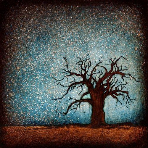"Tree Art from Original Painting - Signed - Baobab Tree & Stars - 6x6"" Panel Print"