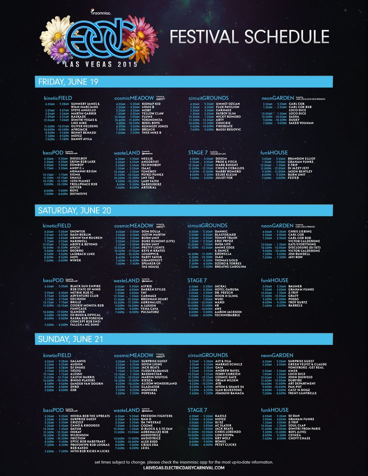 EDC Las Vegas 2015 Set Times Released | Insomniac