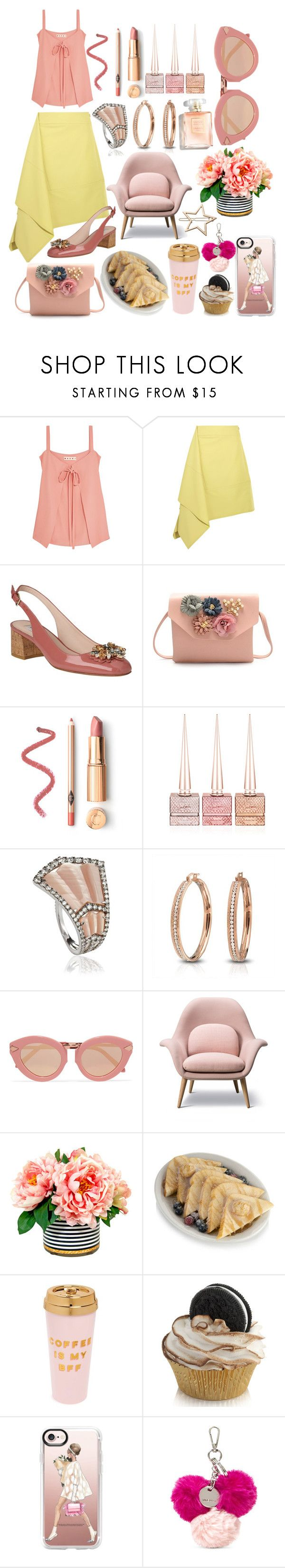 """""""Fine Mondays"""" by pulseofthematter ❤ liked on Polyvore featuring Marni, L.K.Bennett, Christian Louboutin, Annoushka, Bling Jewelry, Karen Walker, French Toast, ban.do, Casetify and Nine West"""