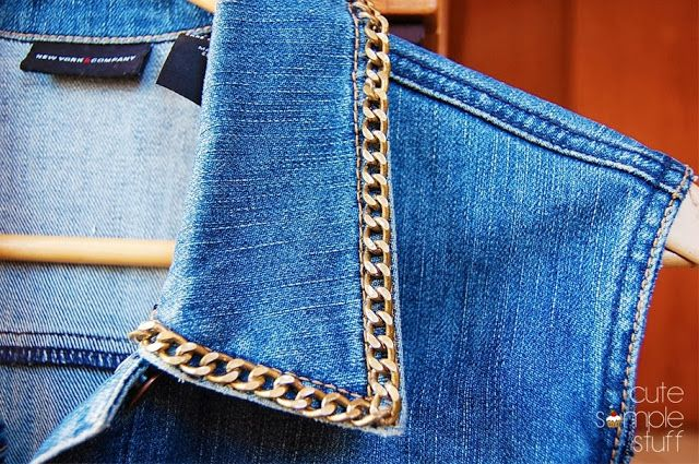 Mmm! Check out this fun upgrade of a standard denim jacket from Cute Simple Stuff. She added metal chain as collar trim and then removed the sleeves.