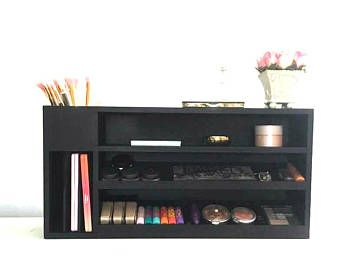 Estante de maquillaje | Almacenamiento de maquillaje | Exhibición cosmética |  Organizador de paleta de maquillaje | Tocador de maquillaje de madera | Pincel de maquillaje titular | Tocador de maquillaje