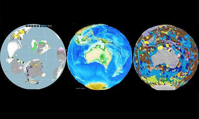 Incredible interactive globes show Earth's geology evolving #DailyMail