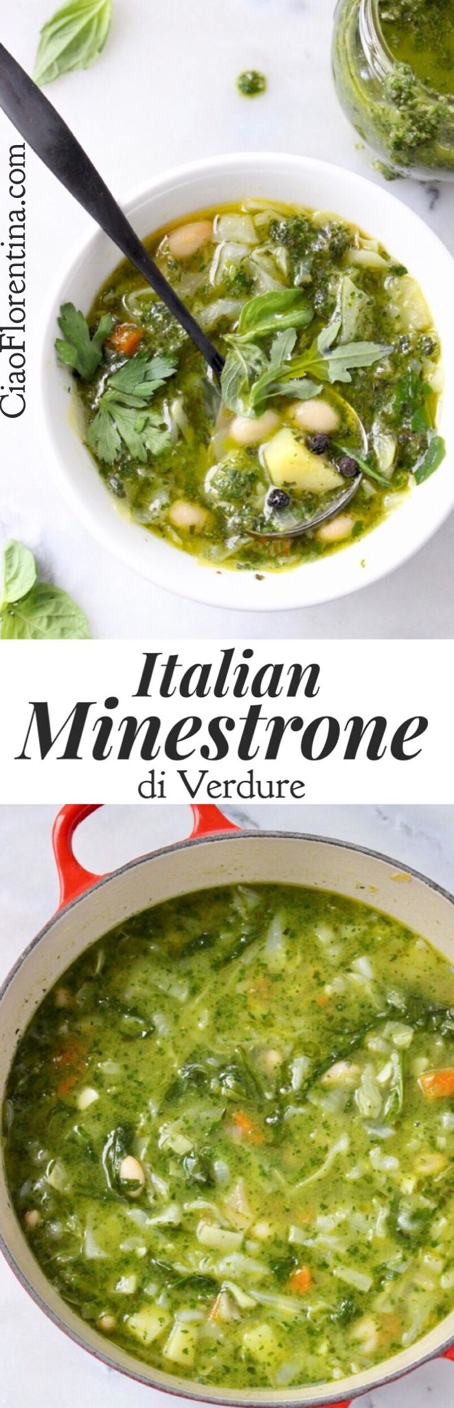 Italian Green Minestrone Recipe, Zuppa di Verdure with Cabbage, Potatoes and Basil Pesto | CiaoFlorentina.com @CiaoFlorentina