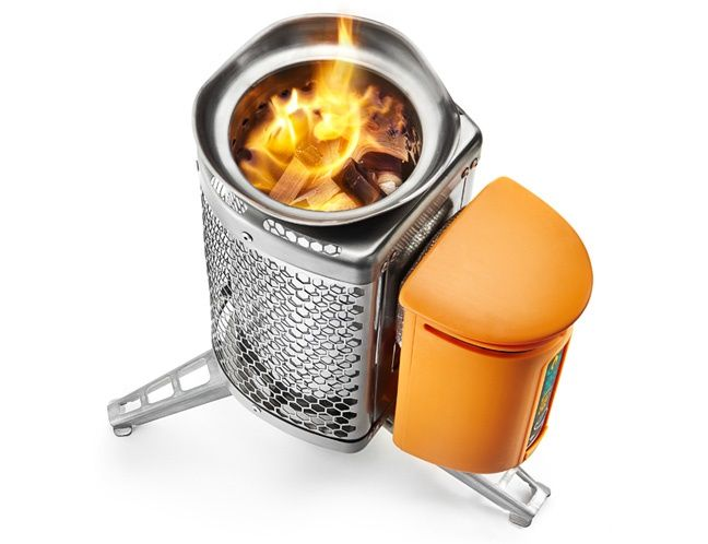 """PC Magazine's """"Equipment for High-Tech Camping"""" features the @Wood Burns CampStove: """"BioLite is a tiny cook stove that holds up to 1.6 ounces of wood (twigs you gather), enough to boil 1 liter of water in about four and a half minutes. More important to your connectivity, it uses the heat produced to turn a fan that powers a generator that supplies 20 minutes of charging time to an iPhone 4S."""""""