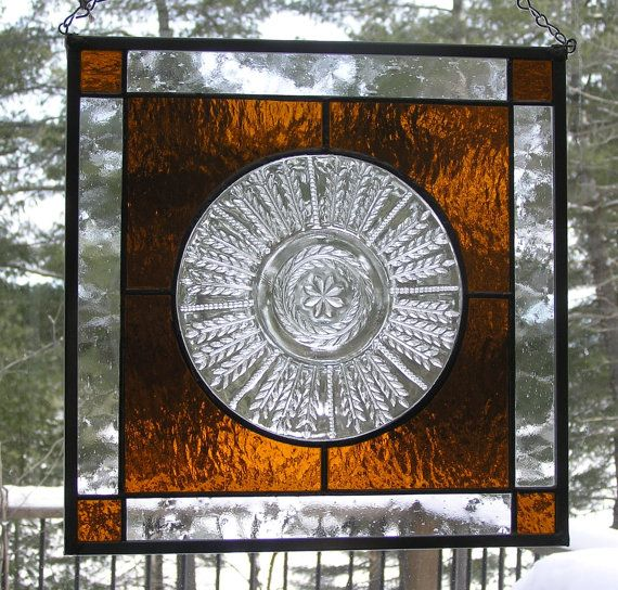 Stained Glass Panel, Vintage Wheat Pattern Glass Plate,  Amber, Heirloom, Old Fashion, Sun Catcher, Country, Unique,  Vintage Plate